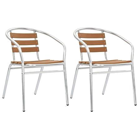 Vidaxl 2x Sillas Jardín Apilables Aluminio Y Wpc Muebles