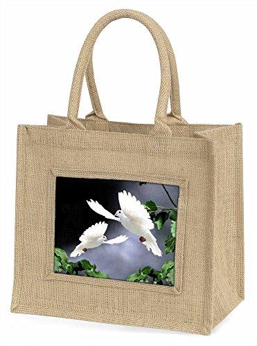 Advanta Zwei schöne weiß Tauben Große Einkaufstasche/Weihnachten Geschenk, Jute, beige/natur, 42x 34,5x 2cm