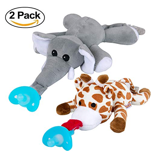 ifiers 2 Pack – Soft Plush Toy with Detachable Silicone Baby Dummy Clip, Pacifier Clip, Squeaky Stuffed Animals, Teether Holder, Safe Soothing Baby Shower Giraffe Elephant Pacifier ()