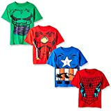 Marvel Little Boys' Costume 4-Pack T-Shirt, Red/Royal/Kelly Green/Red, L-7