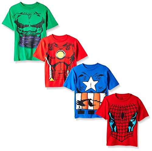 Marvel Little Boys' Costume 4-Pack T-Shirt, Red/Royal/Kelly Green/Red, L-7 ()