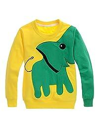 Growing Wild Boy Stylish Elephant Print Two-tone Sweatshirt Long Sleeve Workmark