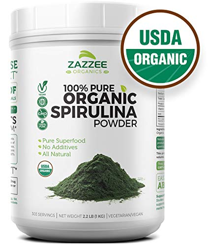 USDA Organic Spirulina Powder   Super Value   303 Servings   2.2 Pounds (1 KG)   100% Pure and Non-Irradiated   Non-GMO and All-Natural   Mess-Free Wide Mouth Container   Vegetarian/Vegan