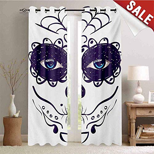 (Hengshu Day of The Dead Waterproof Window Curtain Dia de Los Muertos Sugar Skull Girl Face with Mask Make up Print Room Darkening Wide Curtains W108 x L96 Inch Black White and Blue)
