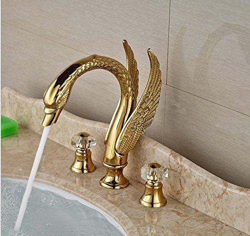 GOWE Contemporary Widespread Golden Basin Sink Faucet Swan Shape Bathroom Sink Mixer Tap Dual Handles 1