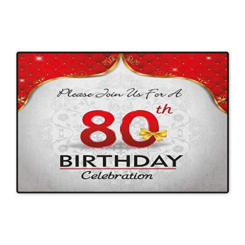 (80th Birthday,Door Mats Area Rug,Birthday Party Invitation with Abstract Floral Backdrop Elderly,Door Mat Doorroom Mat with Non Slip,Red Silver and Golden,Size,24