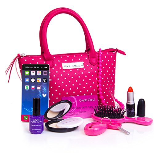Pixie Girl Presents (PixieCrush Pretend Play Kid Purse Set for Girls with Handbag, Pretend Smart Phone, Keys with Remote, Pretend Makeup, Lipstick - Interactive & Educational Toy (Pink Polka)
