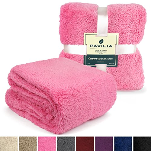 PAVILIA Plush Sherpa Throw Blanket for Couch, Sofa | Fluffy Solid Pink Fleece Throw | Soft, Warm, Fuzzy, Cozy, Lightweight Microfiber | 50'' x 60'' (Blanket Throw Pink)