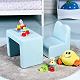 Costzon Kids Sofa, 2-IN-1 Multi-Functional Kids Table & Chair Set, Sturdy Wood Construction, Armrest Chair for Boys & Girls (Blue)