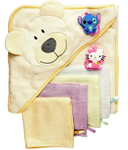 Bath Bucket Gift Set Frog (Baby Bath Gift Set: Bamboo Hooded Towel + 6 Washcloths + 2 Suction Cup Hooks + Baby Massage Ebook by BabyVoice)