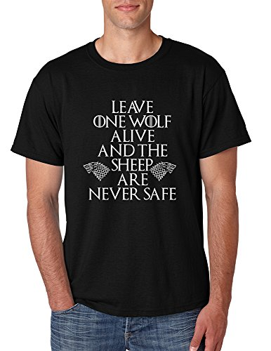 One Wolf (Allntrends Men's T Shirt Leave One Wolf Alive Sheep Are Never Safe (XL, Black))