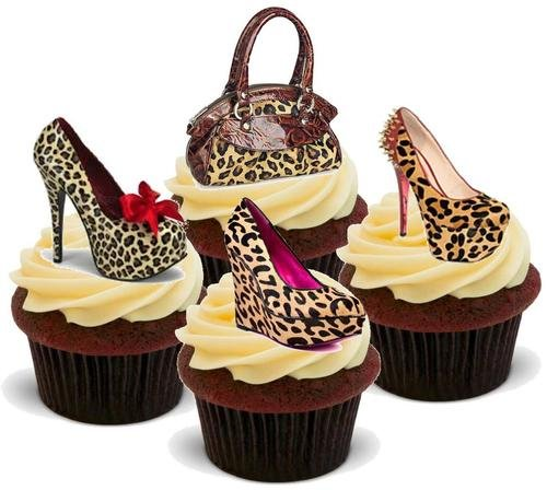 (LEOPARD PRINT HANDBAG SHOE MIX - 12 Edible Stand Up Premium Wafer Cake Toppers)