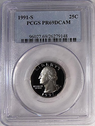 (1991 S Proof Washington Quarter Blue Label Holder Quarter PR 69 DCAM PCGS)