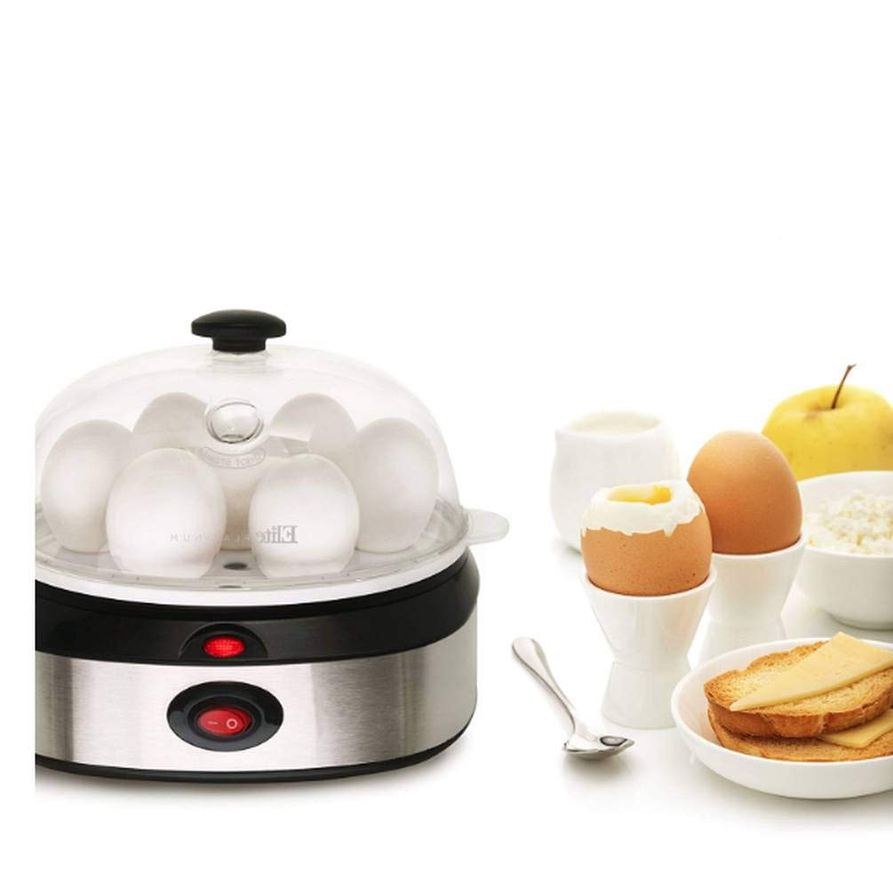 Electric Egg Cooker With Transparent Lid, Stainless Steel Material, Black/Chrome Color, 7 Egg Capacity, Automatic Deactivation, On/Off Switch, For Hard/Medium/Soft Boiled Eggs & E-Book Home Decor