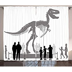 Ambesonne Dinosaur Curtains, Silhouettes of People Looking at a Tyrannosaurus Rex Skeleton in a Museum, Living Room Bedroom Window Drapes 2 Panel Set, 108 W X 63 L inches, Dimgrey Black White
