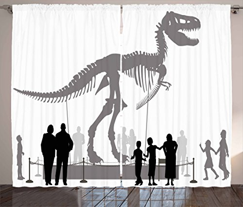 Ambesonne Dinosaur Curtains, Silhouettes of People Looking at a Tyrannosaurus Rex Skeleton in a Museum, Living Room Bedroom Window Drapes 2 Panel Set, 108 W X 84 L Inches, Dimgrey Black White