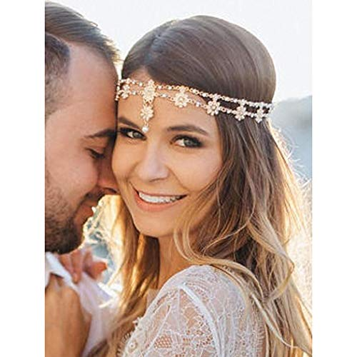 Catery Bridal Flower Headbands Jewelry Bride Vintage Boho Head Chain Headpiece Crystal Halloween Wedding Hair Jewelry for Women and Girls (Silver)