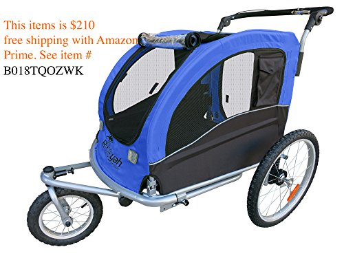 Booyah Large Pet Trailer Pet Bike Trailer & Jogger with Shocks - (Croozer Dog Trailer)
