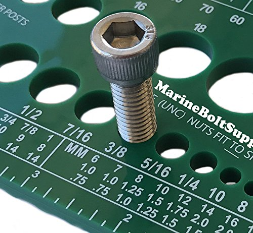 Marine Bolt Supply Nut, Bolt & Screw Gauge (Standard & Metric) (Coarse & Fine) Diameter, Length & Thread Pitch (Green)