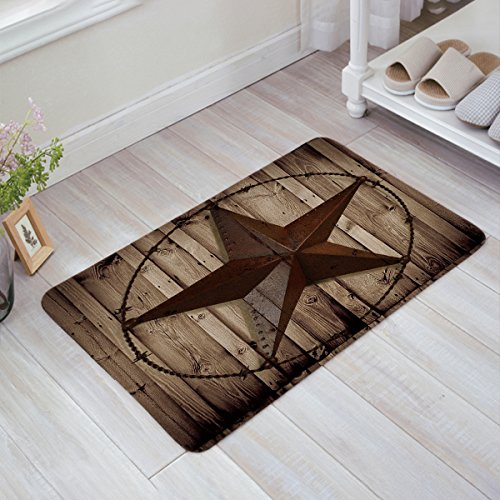 Western Texas Star Doormat Rustic Non Slip Indoor Door Mats Rug for Home Kitchen Bathroom