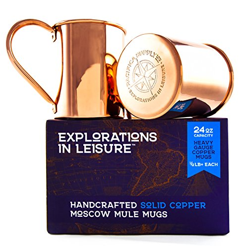 24 Ounce Handcrafted Moscow Mule Mug | 100% Solid Copper | Set of 2 | Available in Smooth or Hammered Finish by Explorations in Leisure