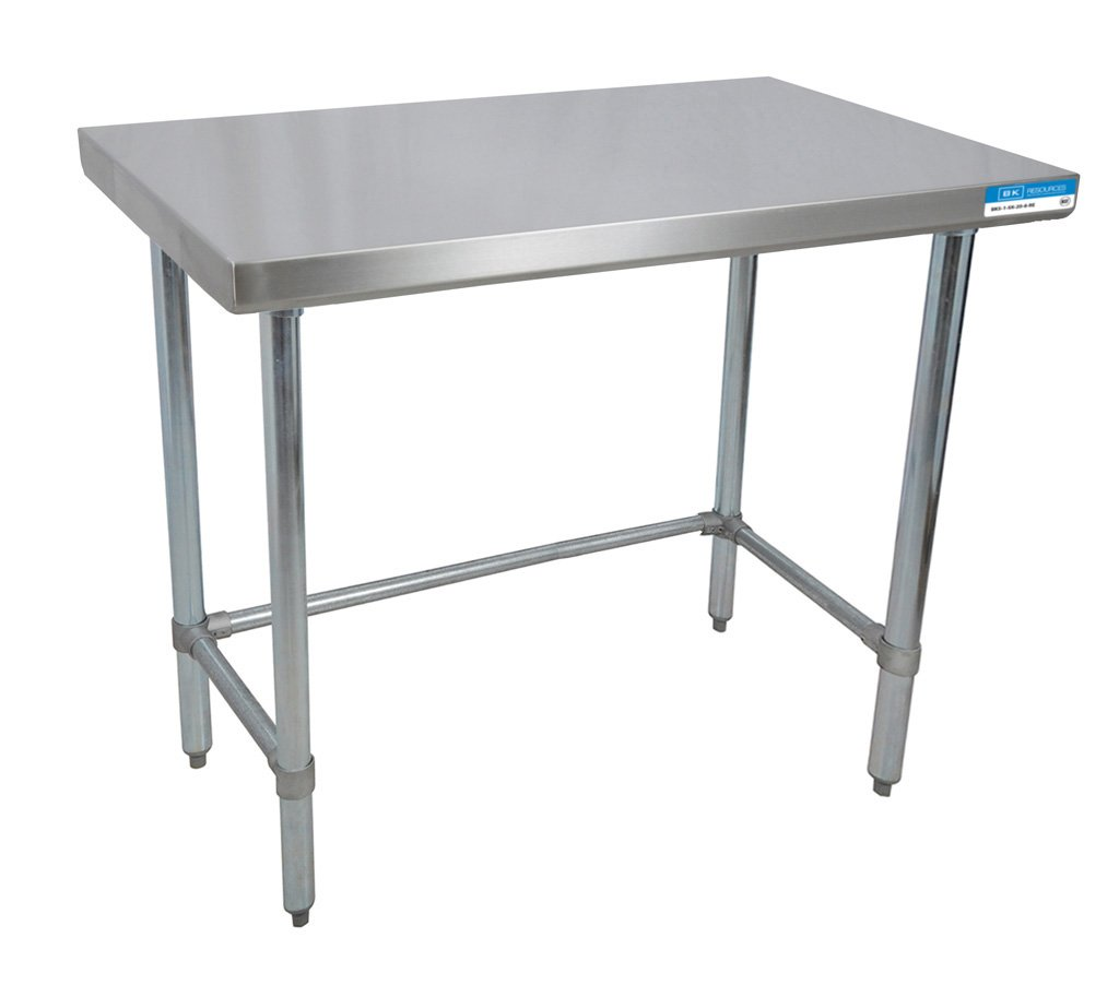 BK Resources 18 Gauge Stainless Steel Flat Top Table with Open Base and Stainless Steel Legs, 48 x 30