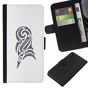 iBinBang / Flip Funda de Cuero Case Cover - Art Drawing Ink Black White - Sony Xperia Z2 D6502 D6503 D6543 L50t