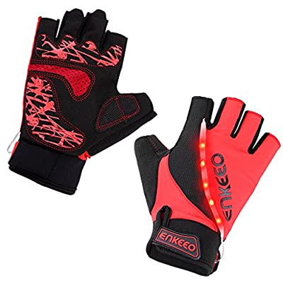 Enkeeo Half Finger Cycling Gloves M/L/XL - Breathable Mountain Bicycle Bike Road Racing Gloves with LED Lights for Night Riding - with Microfiber Leather, Anti-slip Gel Pad, Velcro Design (Black&Red)