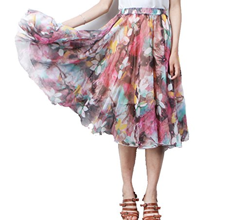(MINGXIN Gypsy / Bohemian Women's Printed Chiffon Pleated Knee-Long Skirt Multi8)