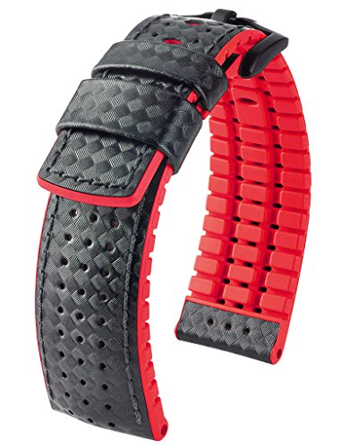 Hirsch Performance ARYTON Carbon Fiber Leather Sport Watch Strap Rubber Lined Black w/Red Lining 22mm Carbon Fiber Watch Straps