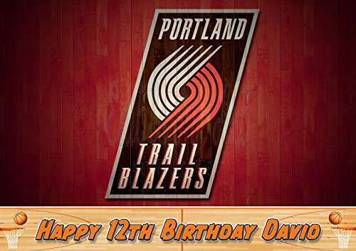 Portland Trail Blazers Edible Image Cake Topper Personalized Icing Sugar Paper A4 Sheet Edible Frosting Photo Cake 1/4 ~ Best Quality Edible Image for cake -