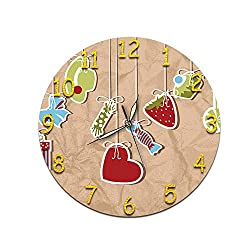 KeeYi Round Classic Clock Retro Decorative Wall Clock Silent Wall Clock, Round Easy to Read for Home Office School Decor Clock 28cm