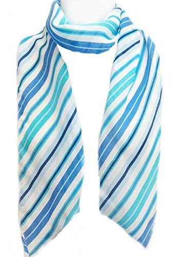 Diagonal Stripe Scarf - Imagine If... Skinny Scarf- Diagonal Stripes- Aqua Blue White & Turquoise