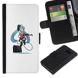 YiPhone /// Tirón de la caja Cartera de cuero con ranuras para tarjetas - Lindo Anime japonés Muchacha de la guitarra - Samsung Galaxy S6