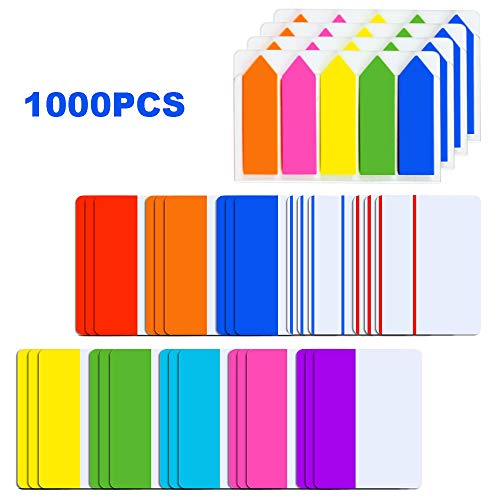 - YBB 1000 Pieces 2 Inch Sticky Index Tabs, Colored Page Markers Labels Writable and Repositionable File Tabs Flags for Binder, Books, Reading Notes and File Folders (1000pcs)