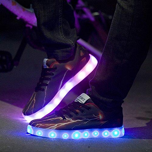 Oasap Herren USB Aufladbare LED Sneakers Black