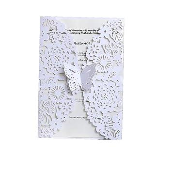 50 tarjetas de invitación cortadas con láser con sobres, tarjetas de invitación de boda,
