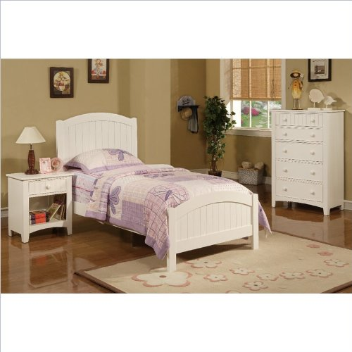 Amazon.com - Poundex 3 Piece Kids Twin Size Bedroom Set in White ...