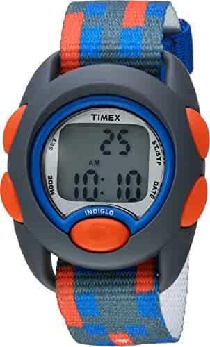Timex Boys TW7C12900 Time Machines Digital Gray/Blue/Red Fabric Strap Watch