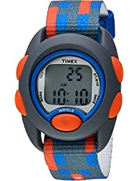 Boys TW7C12900 Time Machines Digital Gray/Blue/Red Fabric Strap Watch