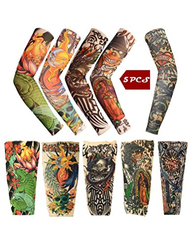 iToolai Temporary Tattoo Sleeves with Skulls, Lotus, Dragon, Rose, Hearts, Koi Fish (Pack of 5) ()