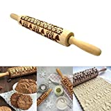 Leegoal Christmas Wooden Rolling Pins,Engraved Carved Wood Embossed Rolling Pin with Christmas Symbols for Baking Embossed Cookies (14Inch)