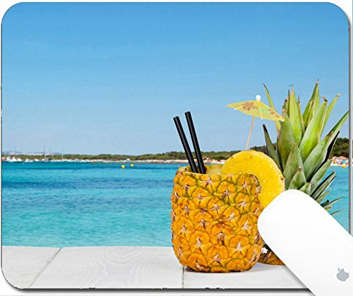 Luxlady Gaming Mousepad 9 25In X 7 25In Image  41066810 Pineapple Juice Served In The Peel On White Wood Table