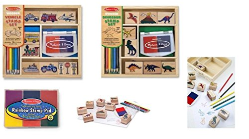 Melissa & Doug Wooden Stamp Set Bundle - Vehicle and Dinosaur Stamp with Bonus Rainbow Stamp Pad