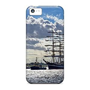Durable Defender Case For Iphone 5c Tpu Cover(clouds Seas Ships)