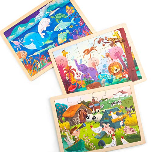 Robud Wooden Jigsaw Puzzles for Kids Ages 3+, Activity Board for Boys and Girls, 24 pcs Each - 3 in 1 Set ()