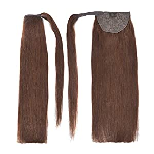 """18"""" Straight Wrap Around Ponytail Human Hair Extensions for Women 100gram Chocolate Brown #4"""