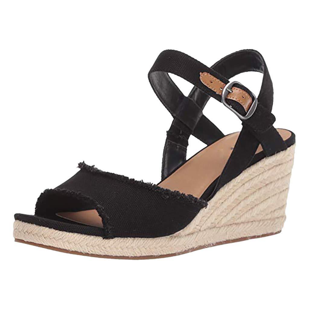 Women Wedge Sandals Summer,SIN+MON Womens New Fashion Thick-Bottom Sandals Peep Toe Ankle Buckle Strap Roman Platform Shoes