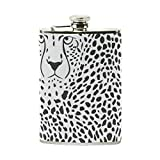 Hip Flask 8 Oz Leopard Animal Texture Stainless Steel & PU Leather Portable