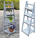 Graspwind Flower Stand 4 Tier Wooden Plant Stand Garden Home Flower Balcony Shelf Ladder Display Free Standing Folding Flower Shelf Dish Rack 45.5''x16'' (4 Tier Grey)